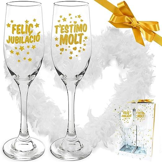 Inedit Festa Jubilació feliç 2 Copas Cava Feliç Jubilació Fiesta Jubilación Estrelles Testimo Molt i Boa de Plomes en Català: Amazon.es: Hogar