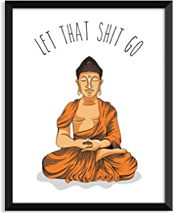 Serif Design Studios Let That Shit Go - Orange Illustration, Yoga Poster, Zen, Buddha, Minimalist Poster, Home Decor, College Dorm Room Decorations, Wall Art
