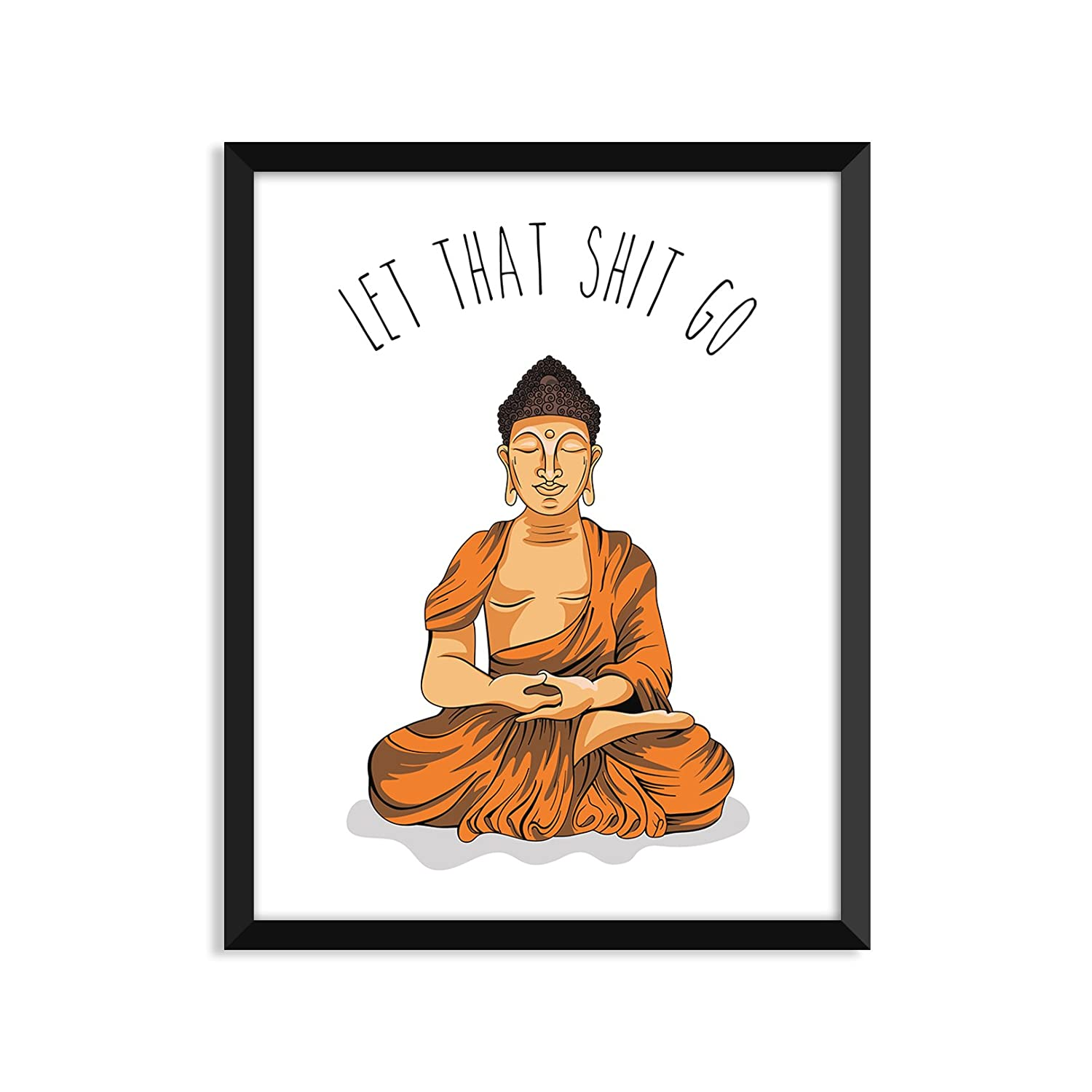 Serif Design Studios Let That Shit Go - Orange Illustration, Yoga Poster, Zen, Buddha, Minimalist Poster, Home Decor, College Dorm Room Decorations, ...