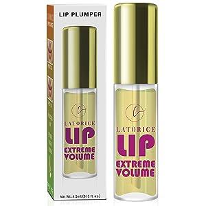 Lip Plumper, Natural Lip Enhancer, Lip Care Serum, Moisturizing Transparent Lip Oil, Lip Plumper Fuller & Hydrated Beauty Lips, Latorice (Strong)