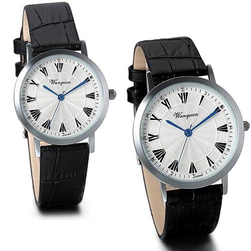 JewelryWe 2 piezas de pareja esfera blanca piel de color negro número de casa números de reloj de cuarzo relojes: Amazon.es: Joyería