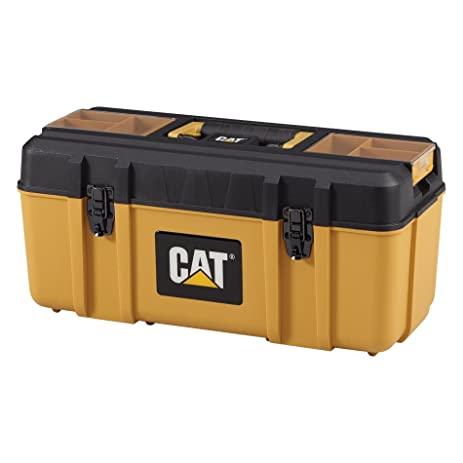 cat premium plastic portable tool box with lid and removable tote 20u0026quot w