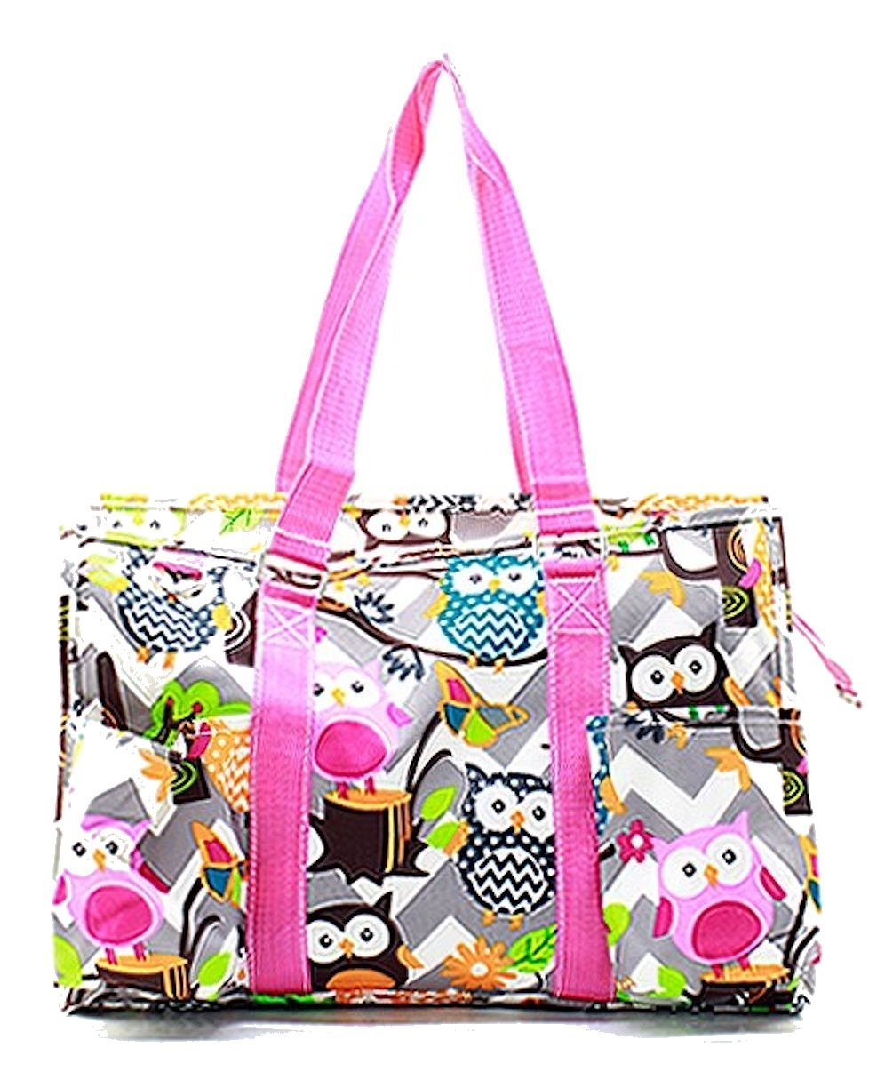 N Gil All Purpose Organizer Medium Utility Tote Bag (Chevron Owl Grey/Hot Pink)