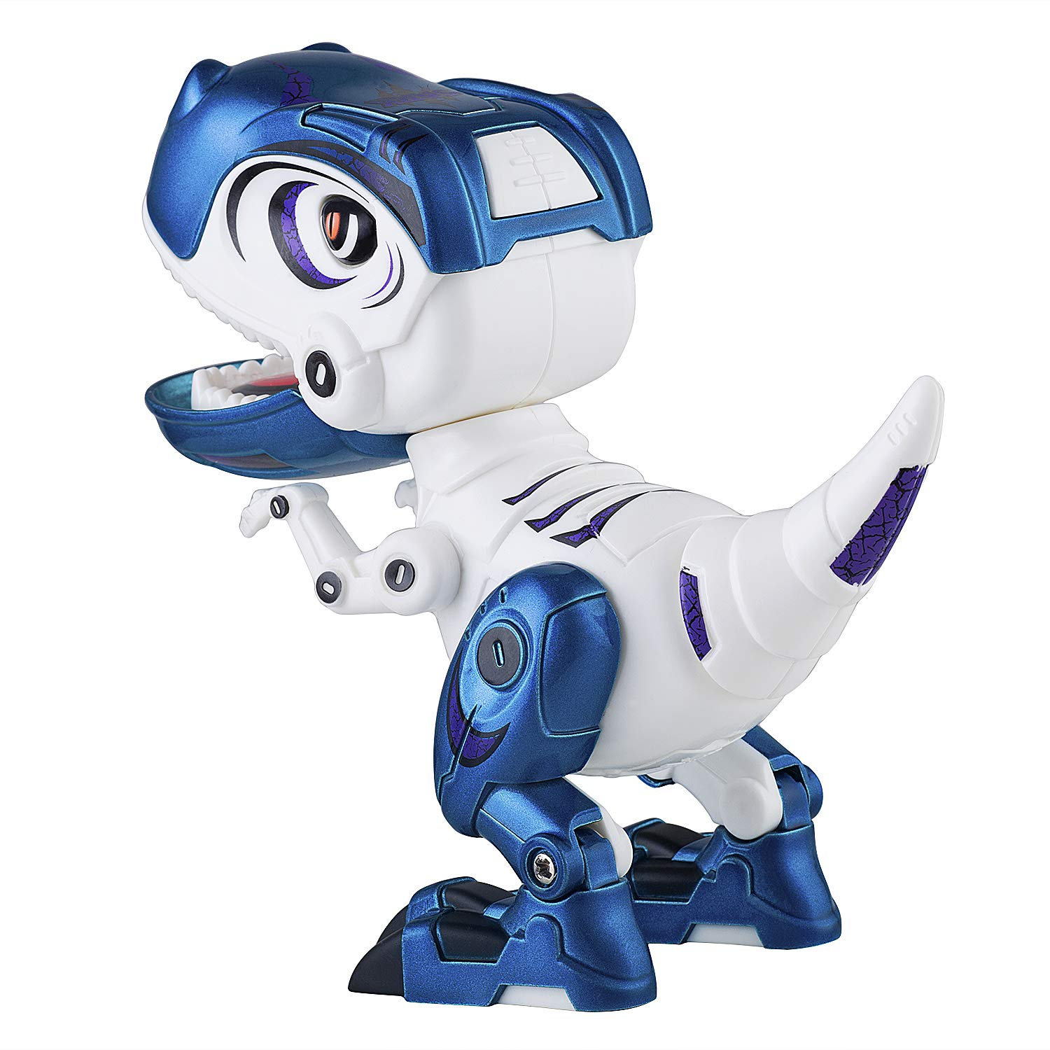 Dolibi Dinosaur Toys for 3 Year Olds Up,Mini Dino Toys Dinosaur Robot,Flexible Body,Sound & Lights (Blue) by Dolibi (Image #4)
