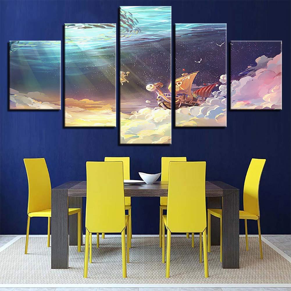 Bild auf Leinwand ONE Piece Film Gold Bilder 5 Teile Wandbilder Wohnzimmer Wohnung Deko Kunstdrucke,WoodenFramed+C,100x55cm
