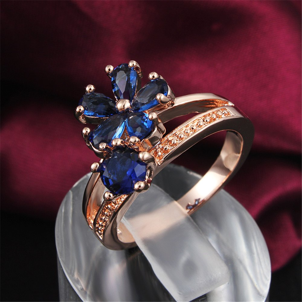 Women's Stacking Ring Pave Cubic Zircon Eternity Promise Ring Flower Top Infinity Wedding Band by 17maimeng (Image #5)