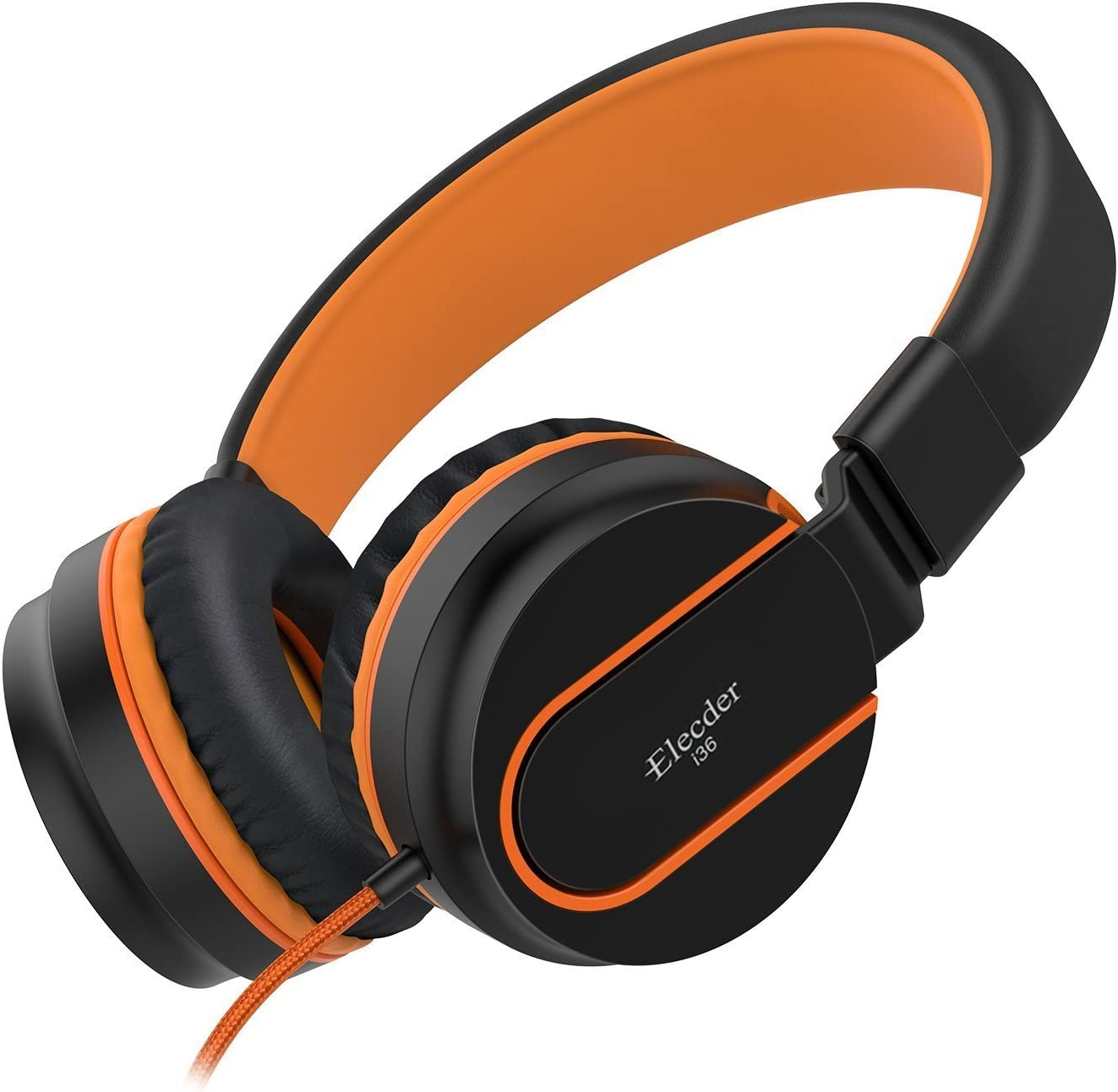 Elecder i36 Kids Headphones Children Girls Boys Teens Foldable Adjustable On Ear Headphones 3.5mm Jack Compatible iPad Cellphones Computer Kindle MP3/4 Airplane School Tablet Black/Orange