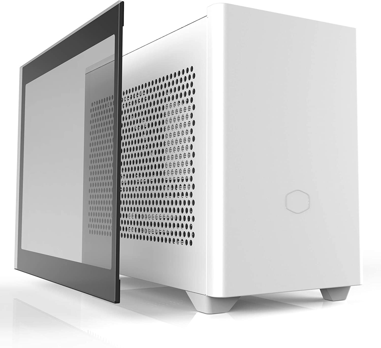 Cooler Master NR200P White SFF Small Form Factor Mini-ITX Case with Tempered Glass or Vented Panel Option, PCI Riser Cable, Triple-Slot GPU, Tool-Free and 360 Degree Accessibility