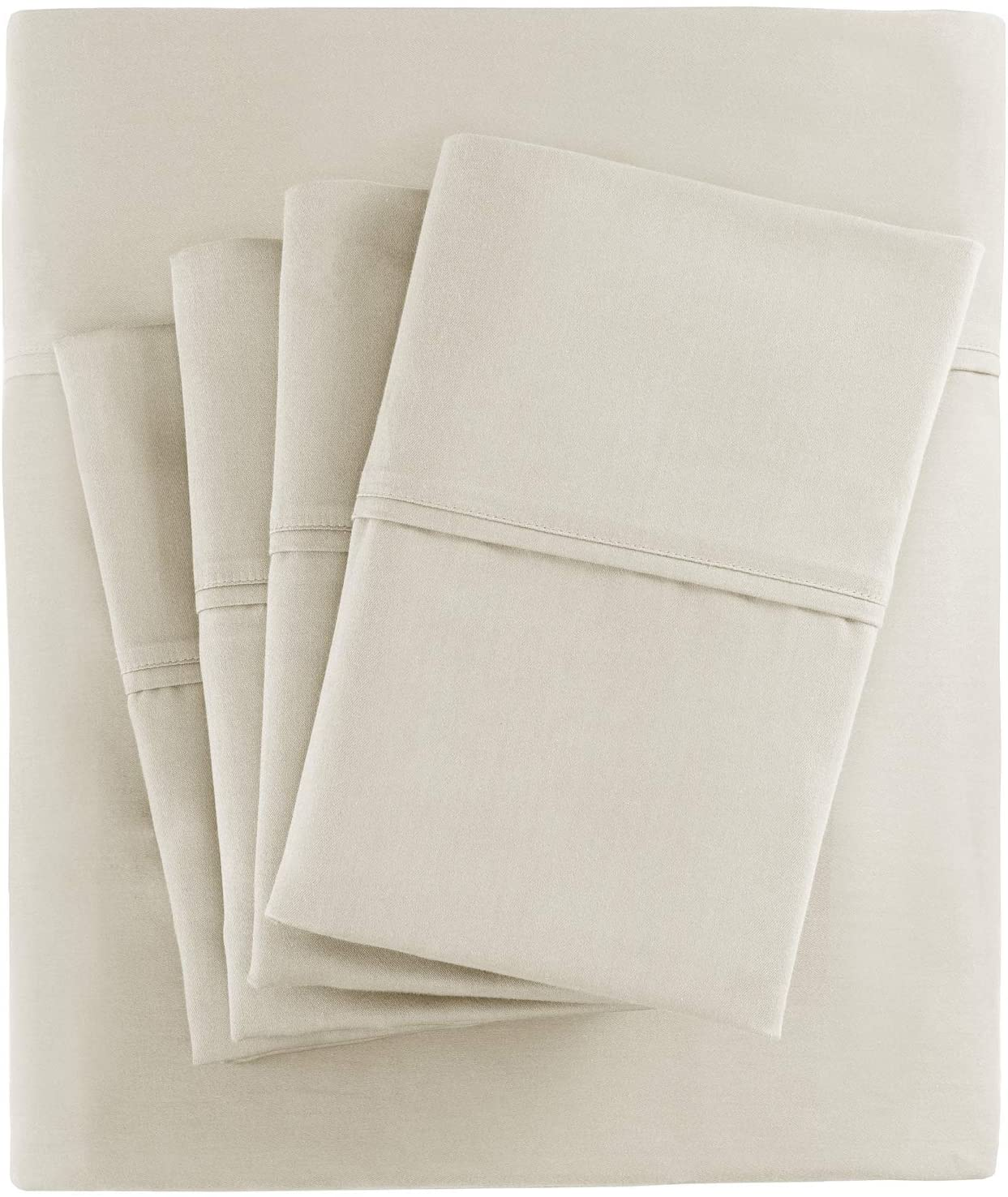 Madison Park 800 Thread Count Luxurious Wrinkle Free Breathable Cotton Rich Sateen 6 Piece Sheet Set, King Size, Ivory