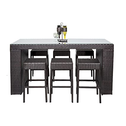 Astounding Tk Classics 7 Piece Napa Bar Table Set With Backless Barstools Outdoor Wicker Patio Furniture Machost Co Dining Chair Design Ideas Machostcouk