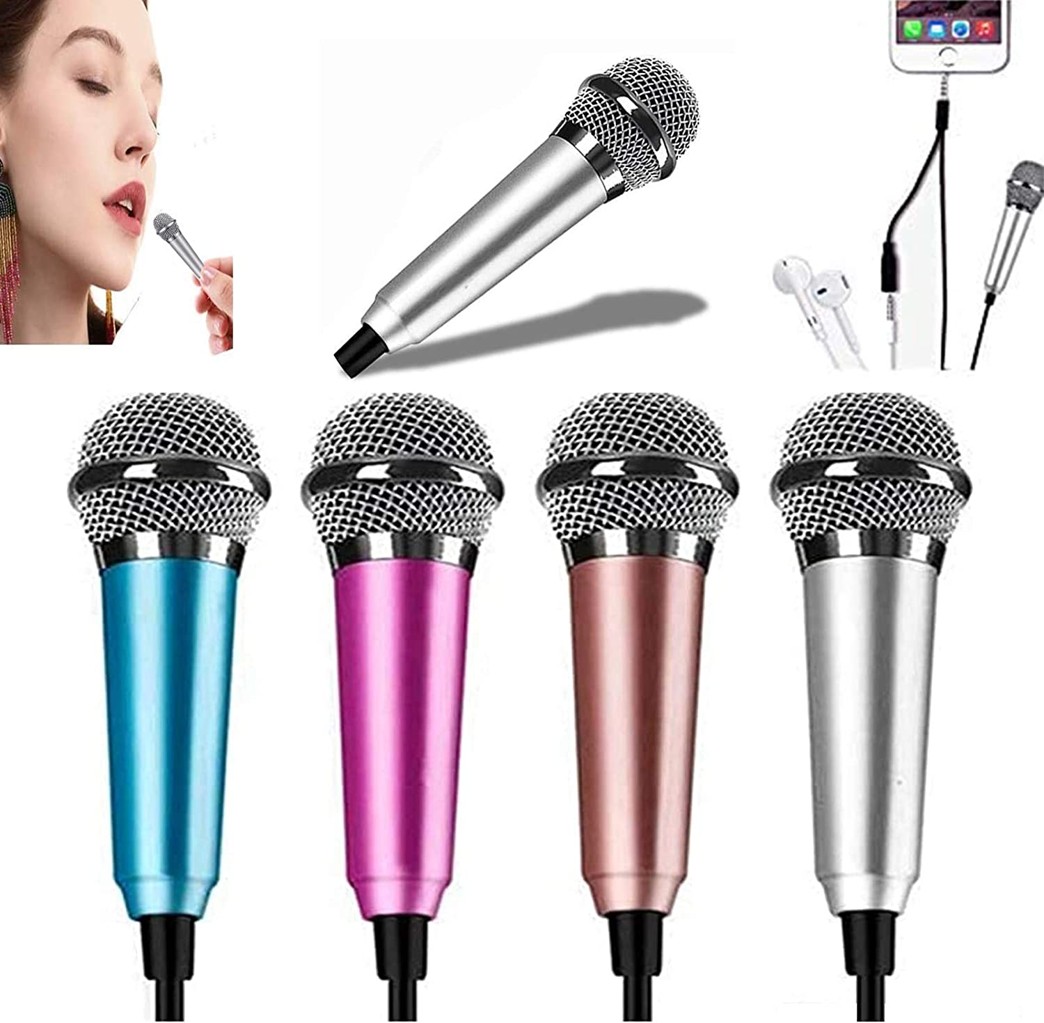 Recording Voice Recording Mini Karaoke Microphone Black and Gold Wootrip Mini Voice Recording Microphone Portable Karaoke Mic for Singing