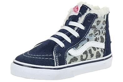 8d7a136e2493 Vans Kids Sk8 Hi Zip (Leopard Denim) VN-0XG5EU9 10