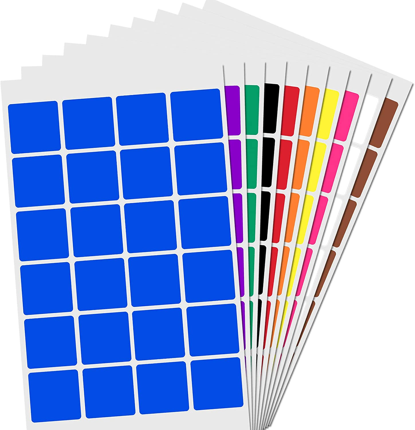 """1"""" Square Color Coding Sticker Labels - 10 Colors, Pack of 1200"""