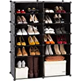 12-Cube DIY Shoe Rack Modular Organizer Plastic Cabinet by LANGRIA 6 tier Shelving Bookcase Cabinet Closet Black (12 - Regular Cube)