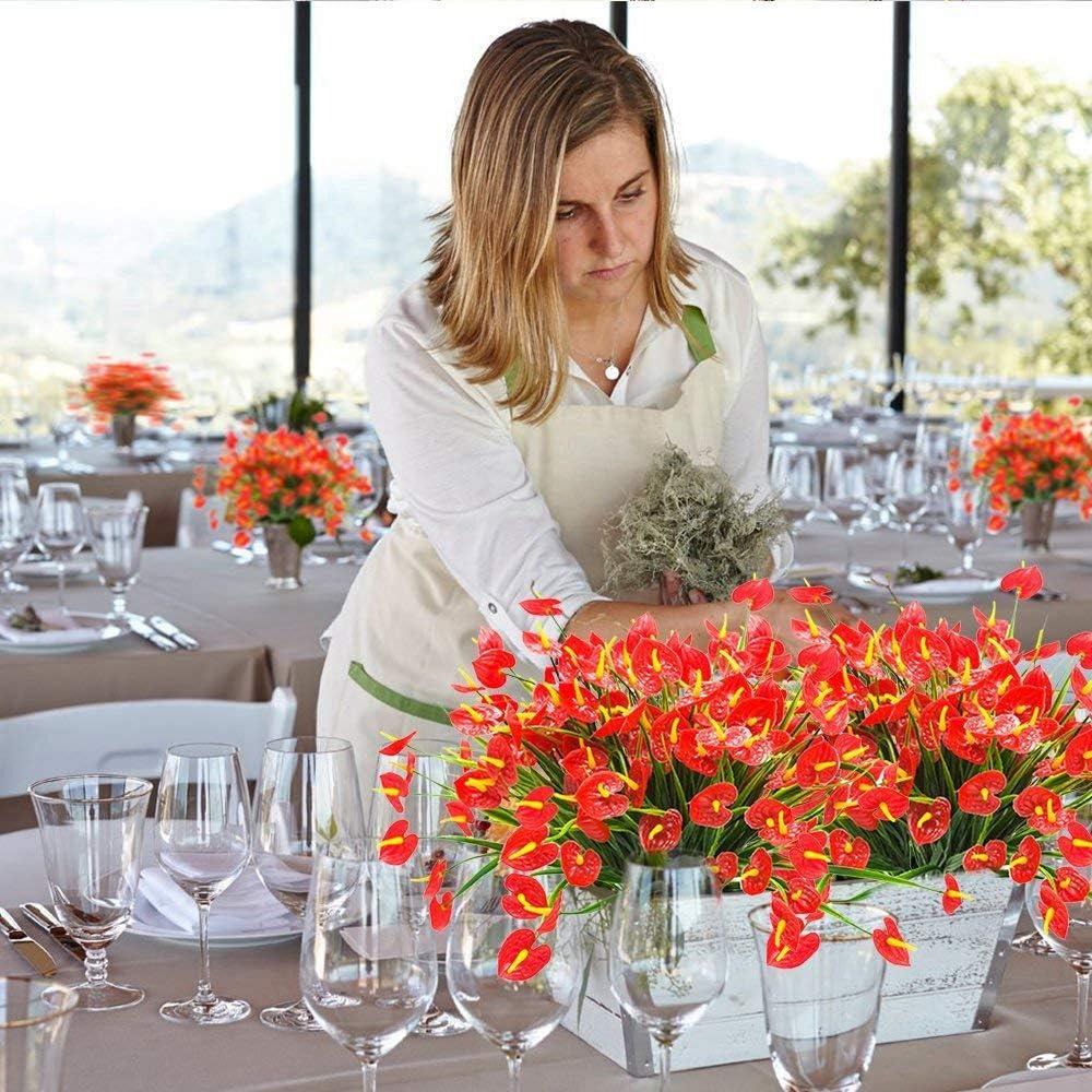 Cikuso 4 Bouquets De Faux Fleurs Artificielles Plantes Faux Anthurium Plantes Arbustes en Plastique Buissons Verdure Interieur Exterieur Jardiniere A Suspendre Decorations pour La Maison