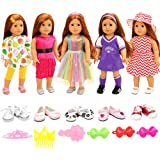 Barwa 5 Sets Clothes Dress Outfits with Accessories and 2 Pairs Shoes for 18 Inch American Girl Doll