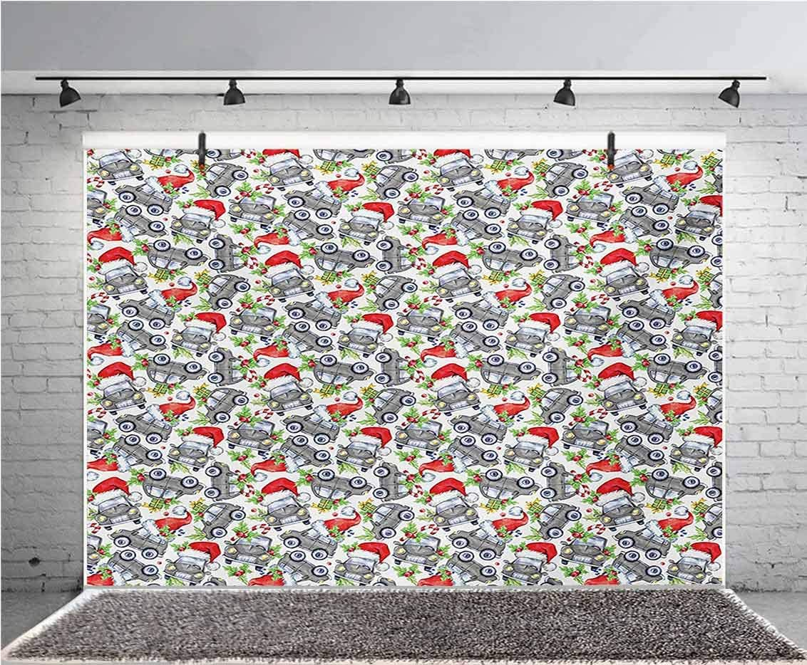 Cars 10x6.5 FT Vinyl Photo Backdrops,Christmas Themed Hand Drawn Cars with Santa Hats and Presents on Winter Holiday Background for Child Baby Shower Photo Studio Prop Photobooth Photoshoot