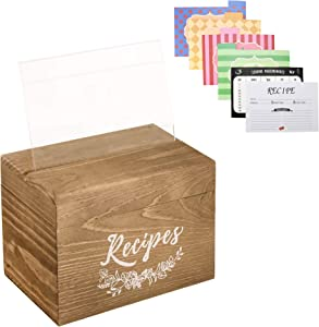 Vintage Wood Recipe Box, Farmhouse Wooden Recipe Organizer Box Ideal Gift for Mother's Day and Women's Day, Recipe Cards Holder with 80 Double Sided Recipe Cards 4x6 and 8 Dividers
