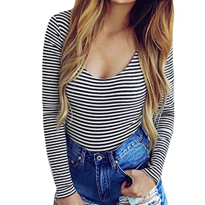 Abetteric Womens Sexy Party Dance Hollow Out Pinstripe Bodysuit Shorts