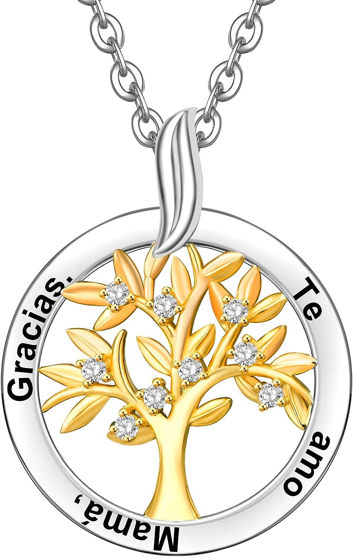 ENGSWA Collar Personalizable Mujer Plata de Ley 925 Colgante Árbol de la Vida Familiar Grabado Regalo para Madre Mamá Abuela Hija Niña Esposa Novia