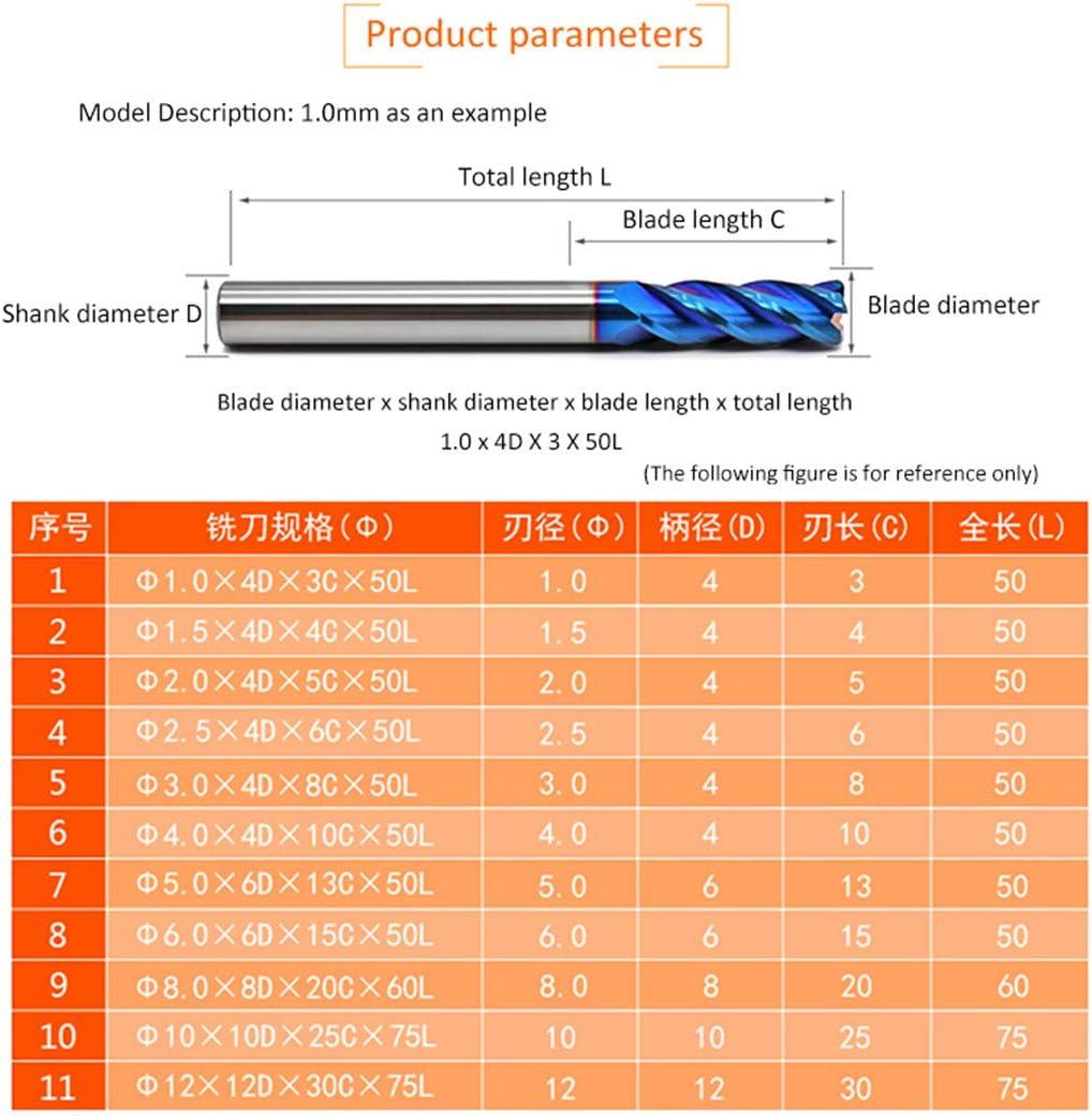 1PC Cutting HRC65 4 Flute D1mm-12Mm 1.5Mm 2Mm 3Mm 4Mm 5Mm 6Mm 8Mm Alloy Carbide Milling Tungsten Steel Milling Cutter End Mill D10x100L D4x100l