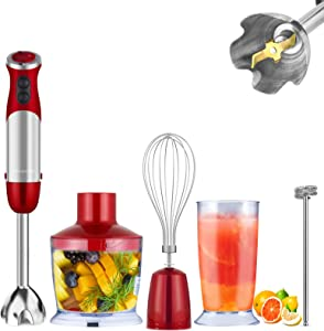 MegaWise 5-in-1 Immersion Hand Blender, Powerful 800 Watt 12-Speed Stick Blender with Sturdy Titanium Plated Stainless Steel Blades, Including 500ml Chopper, 600ml Beaker, Whisk and Milk Frother Attachments, Dishwasher Safe and BPA-Free
