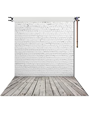 ddd838ff7a10b HUAYI 5X7ft White Brick Wall With Gray Wooden Floor Photography Vinyl  Backdrop D-2504