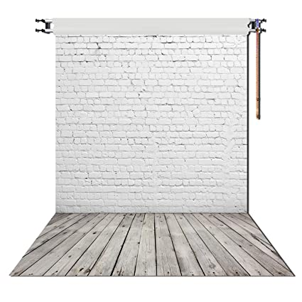 Amazon Huayi 5x7ft White Brick Wall With Gray Wooden Floor