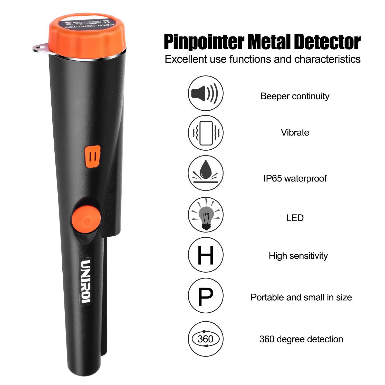 UNIROI Detector de Metales Pinpointer con Batería de 9V, Funda de Cinturón y Cable Colgante Retráctil, IP65 Resistente al Agua, Buscador de Tesoro Potable ...