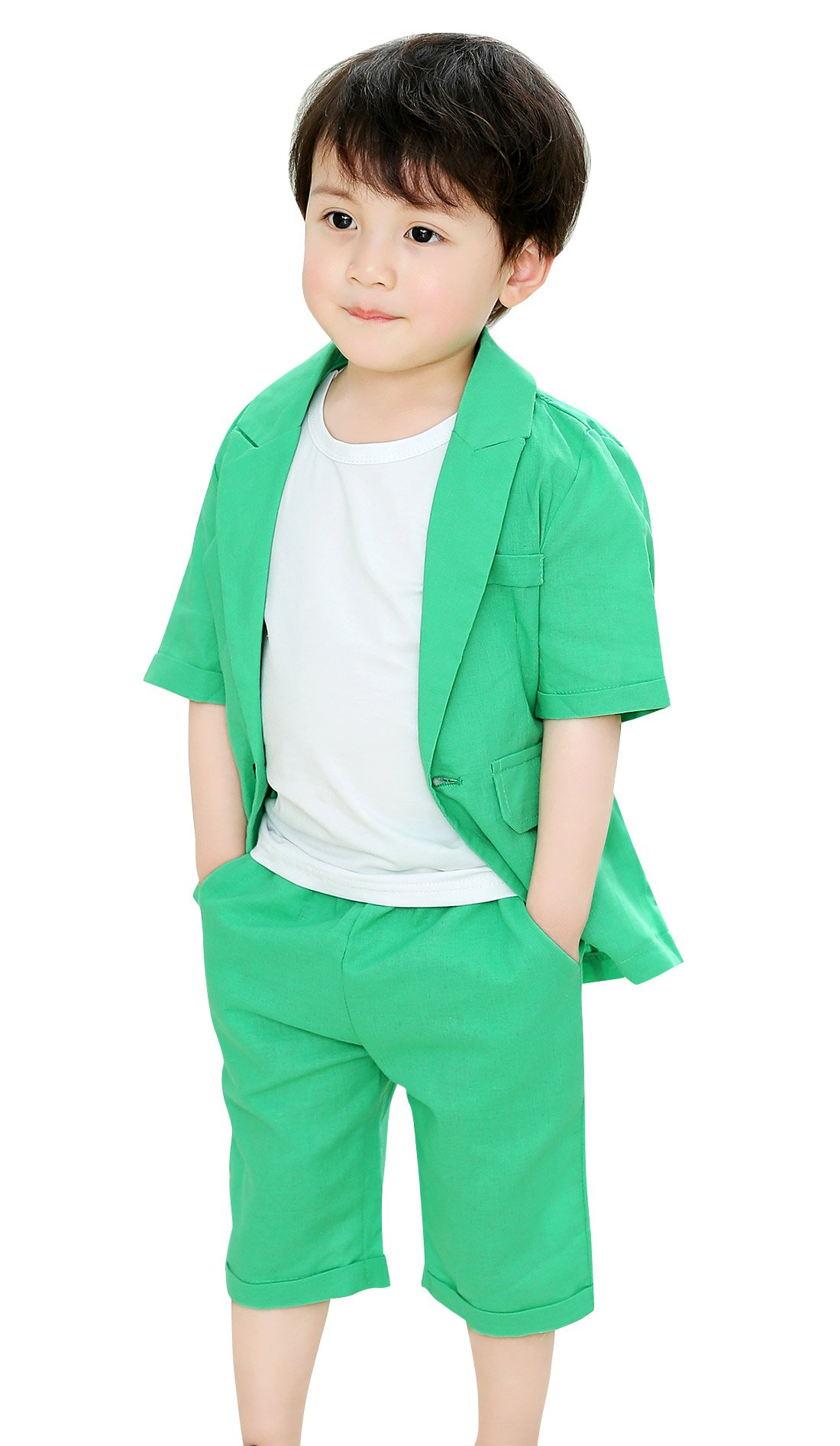 Boys Formal Summer Suit Set 2 Pieces Short Sleeve Jacket Shorts Wedding Green 4T