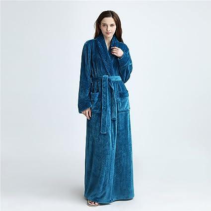 870c44e1 YAN Vestido de Mujer Franela Lujo Terry Toweling Batas de baño Batas Batas  de casa +