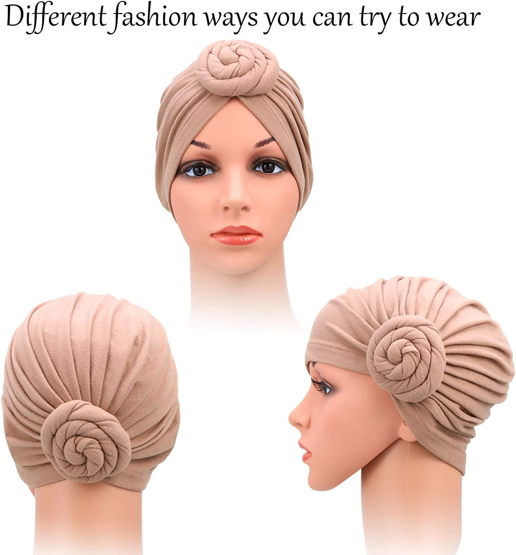 SATINIOR 3 Pieces African Turban for Women Knot Pre-Tied Bonnet Beanie Cap Headwrap