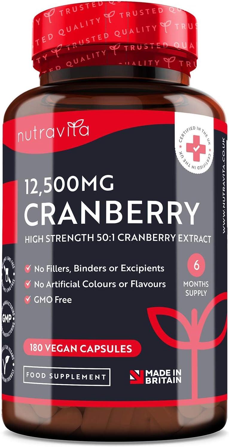 Arándano Rojo Capsulas 12,500 mg - 180 Cápsulas Apto Para Veganos - Suministro para 6 Meses - Extracto de Arándanos de Alta Potencia por Porción - Producto Elaborado en el Reino Unido por Nutravita