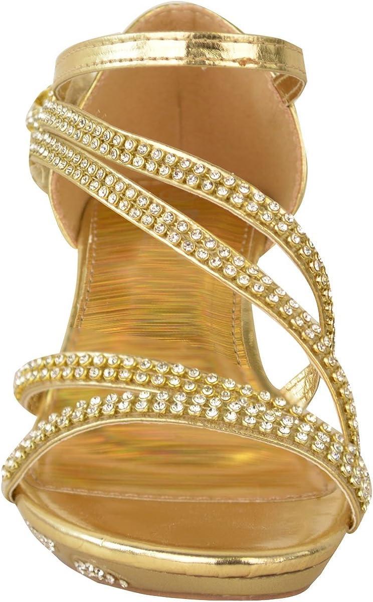 Chaussures /à talons bas de mariage pour filles avec strass Taille anglaise