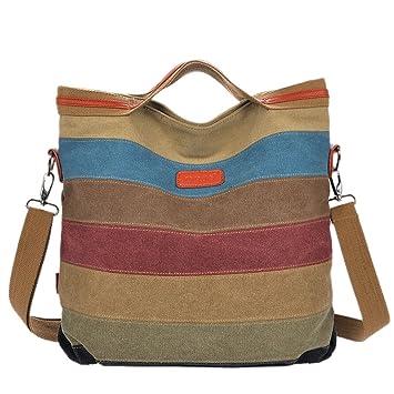 2680390bfa976 Handtasche Schultertasche Damen Canvas Shopper Umhängetaschen  Schulterträger Mehrfarbige Streifen