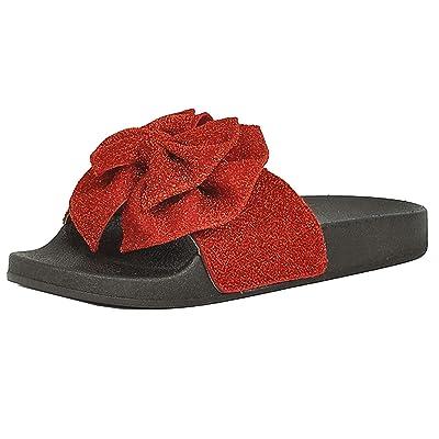 537b37072d4c8 Refresh Footwear Women's Glitter Bow Slip On Slide Sandal ...