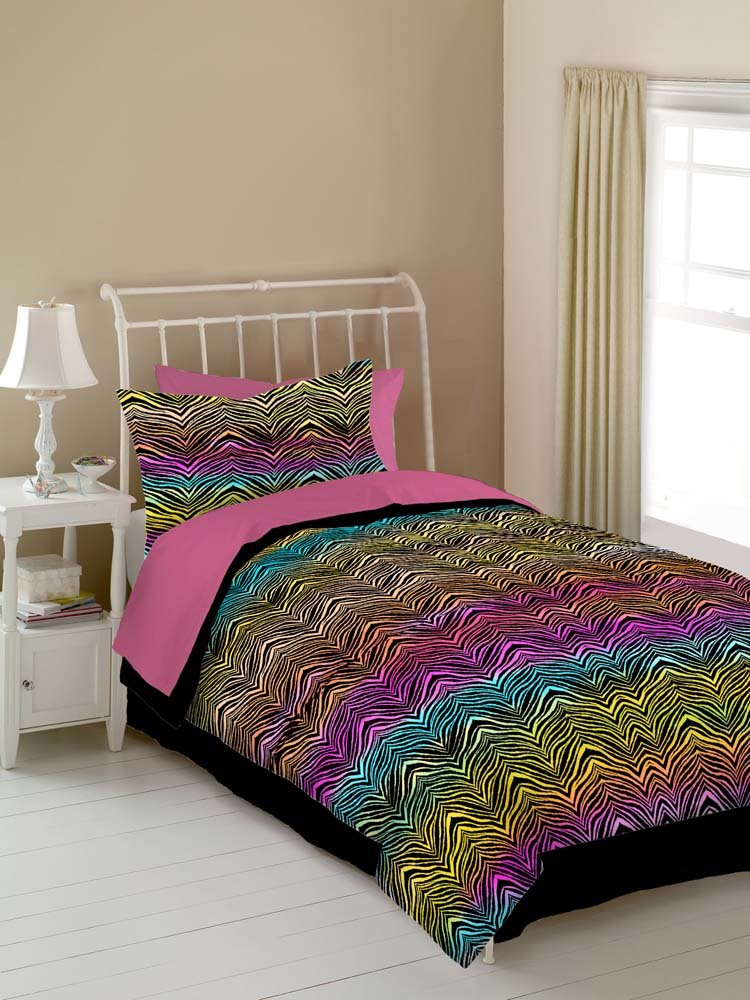 Amazon.com: Veratex Rainbow Zebra Kids\' Bedding Collection Full ...