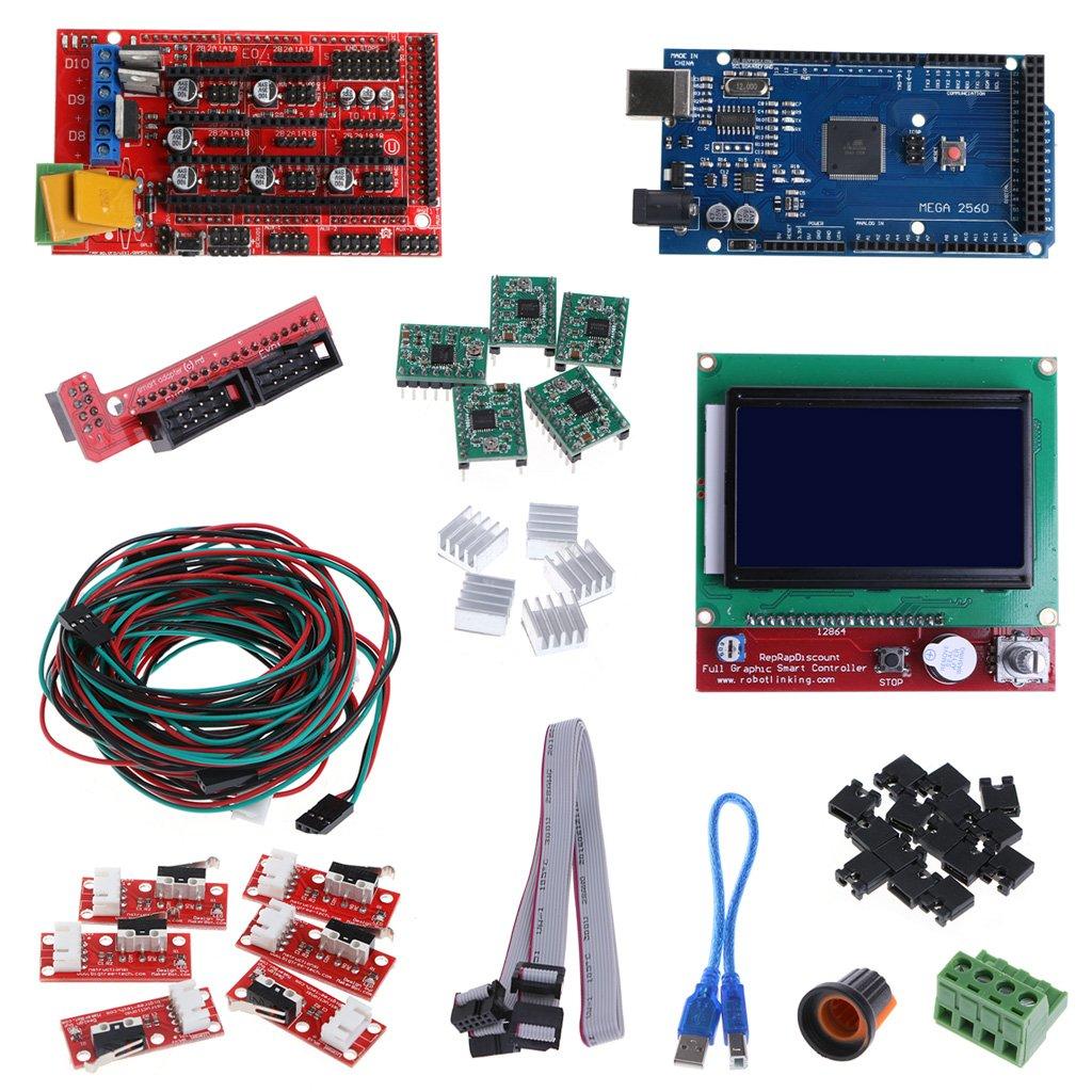 Rhfemd CNC 3D Printer Controller Kit for Mega 2560 R3+RAMPS 1.4 Controller+LCD 12864+5 A4988 Stepper Driver