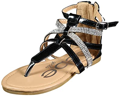 83353ac04946 bebe Girls Metallic Gladiator Sandals with Rhinestone Straps
