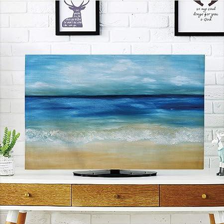 Cubierta Antipolvo para televisor LCD, diseño de Dibujo con Pintura, diseño Abstracto de Acuarela, Color Rosa, Morado, Blanco, diseño de impresión 3D, Compatible con televisores de 32 Pulgadas: Amazon.es: Hogar
