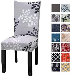 Printed Dining Chair Slipcovers, Removable Washable Soft Spandex Stretch Chair Covers Banquet Chair Seat Protector Slipcover for Kitchen Home Hotel (Set of 4, Light Green)