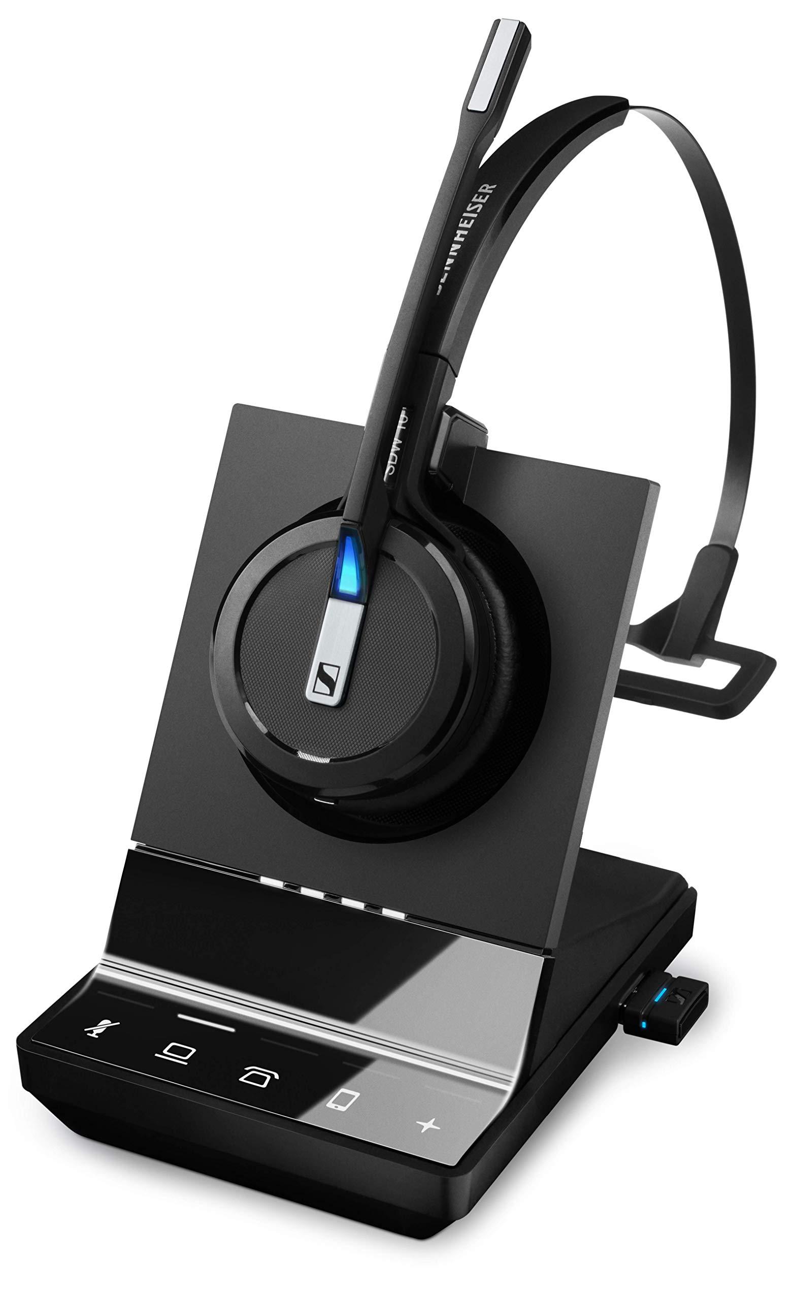 Sennheiser SDW 5016 (507016) Single-Sided Wireless DECT Headset for Desk Phone Softphone/PC& Mobile Phone Connection Dual Microphone Ultra Noise-Canceling, Black by Sennheiser Enterprise Solution