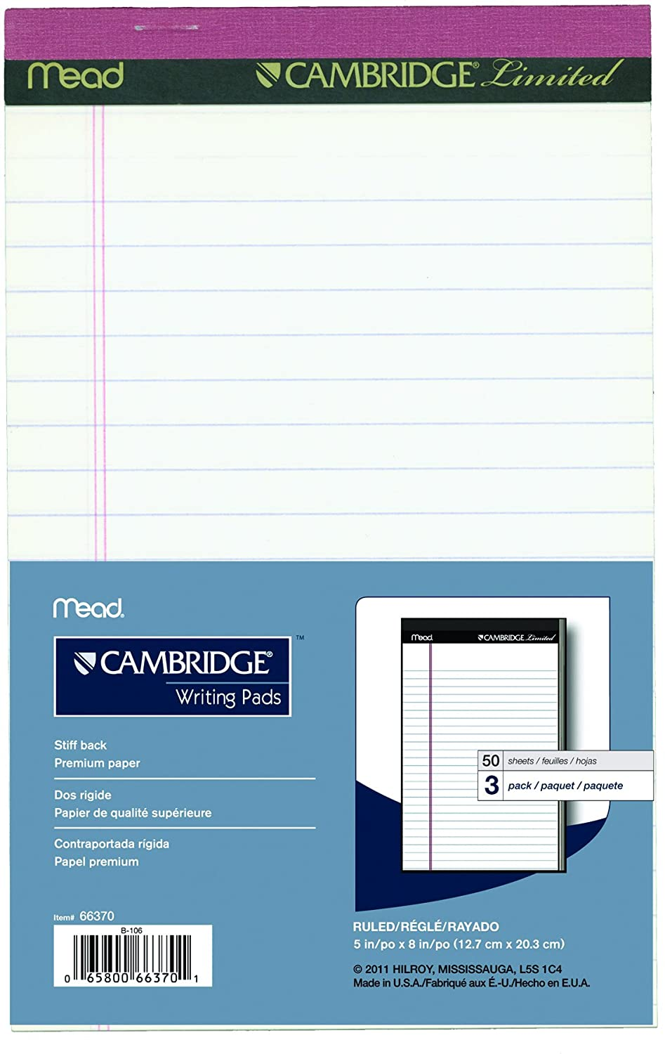 Cambridge Limited 66369 Small Writing Pads, Perforated, 5x8-Inch, 50-Sheets, 3/Pack, Canary