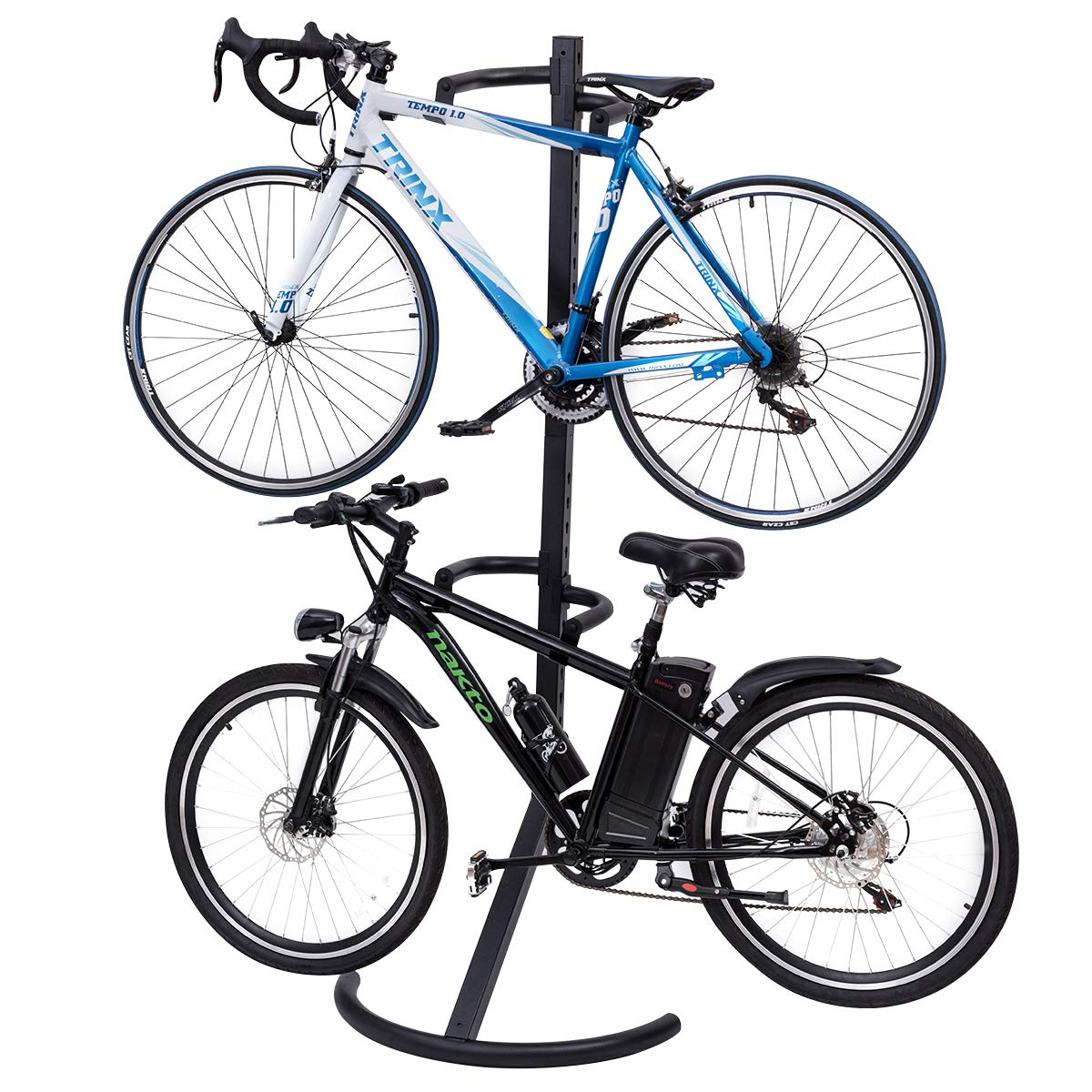 Goplus Gravity Freestanding Bike Stand Adjustable Height Two-Bike Storage Rack Heavy Duty for Bicycle Parking with 100lbs Weight Capacity by Goplus