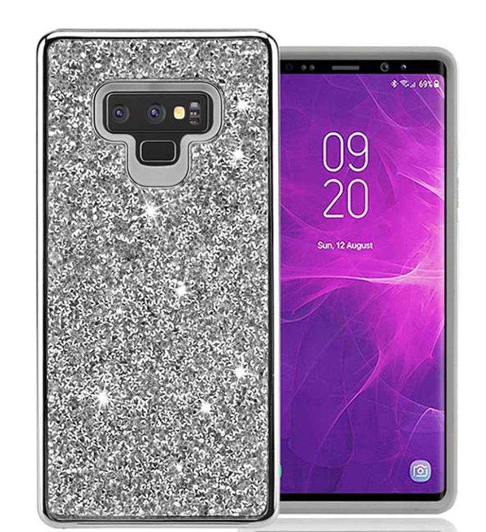 Samsung Galaxy Note 9 Case Sparkly Glitter,Lozeguyc 2 in 1 Luxury Plating Bling Rhinestone Leather Shockproof Cover Hard PC Back + Soft TPU Inner Hybrid Case for Girls Women-Silver