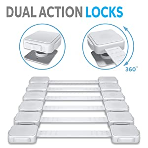 ALMA Baby Safety Locks Child Proof Cabinet Drawer Oven Toilet Seat Fridge Door 3M Adhesive No Drill Strap Dual Action Lock Latch White