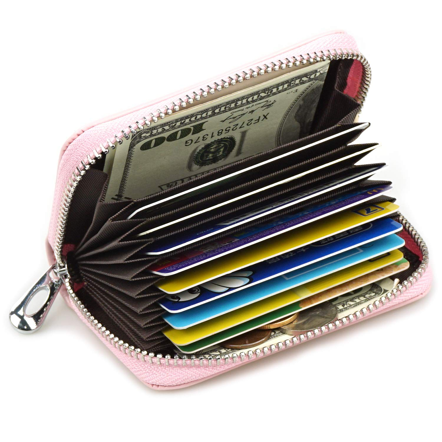 Women Compact Card Wallet Cute Credit Card Holder Genuine leather Coin Purse