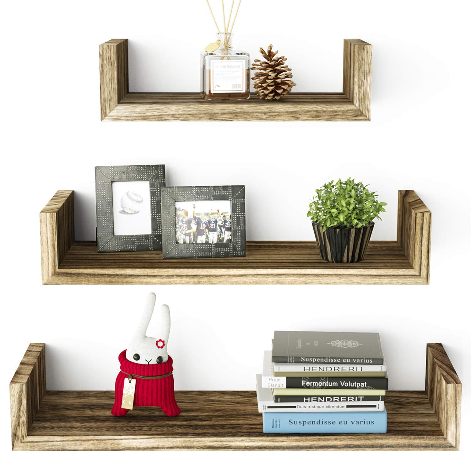 SRIWATANA Floating Shelves Wall Mounted, Solid Wood Wall Shelves Set of 3(Carbonized Black) by SRIWATANA