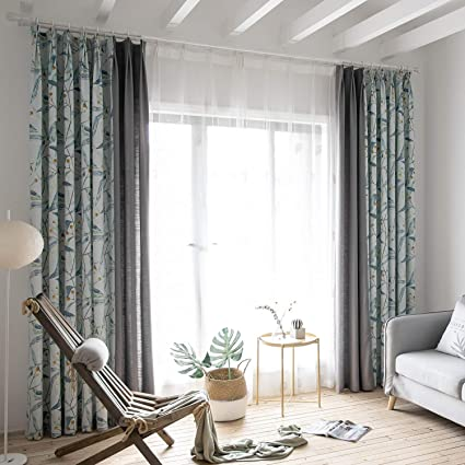 Light Blue Curtains Living Room.Amazon Com Anady Top Light Blue Linen Curtains Birds Drapes