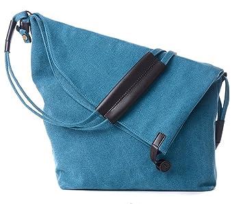 a61474edf04f9 DNFC Canvas Umhängetasche Damen Tasche Schultertasche Retro Messenger Bag  Shopper Vintage Handtasche Beuteltasche für Schule Reisen